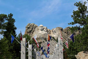 The Avenue of Flags and Mount Rushmore